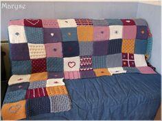 plaid tricot facile assemblage 63 carrés