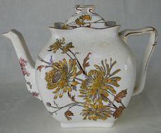 Circa 1887 Antique English Transferware Aesthetic Movement Teapot Tea Pot George Jones Chrysanthemum