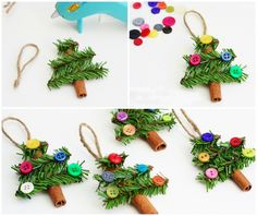 Hanging Christmas trees - 15 Christmas Crafts To Make With Kids Pine Cone Christmas Tree, Hanging Christmas Tree, Little Christmas Trees, Kids Christmas, Christmas Ornaments, Christmas Crafts To Make, Christmas Activities, Christmas Projects, Beautiful Christmas Decorations