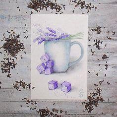 """Lavender sugar - watercolor illustration. """"Лавандовый сахар"""" - акварель, бумага для акварели 300 г, 10 на 15 см. Как оказалось, лавандовый сахар существует и в реальности, а не только в моем воображении - его используют для вечеринок. Я очень-очень люблю лаванду, обожаю ее цвет и запах, но поймала себя на мысли, что ни в коктейль, ни в чай я бы такой сахар не положила. Хотя смотрится он очень привлекательно. #art #watercolor #drawings #watercolorillustration #topcreator #top_watercolor…"""