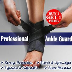 [S$9.90](▼24%)[NO.1 SHOP][BUY 1 GET 1 FREE] Professional Sports Ankle Guard with Cross-wound Flexible Velcro Tape / Tightness Adjustable / Strong Protection / Sport Crash Proof / Prevent Re-injury / All Day Ankle Support