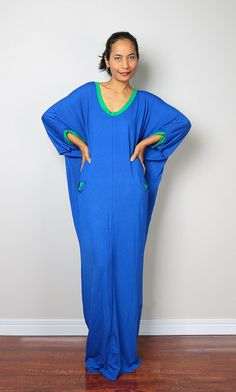 Blue Maxi Dress Loose Fit 3/4 Sleeve blue dress : by Nuichan