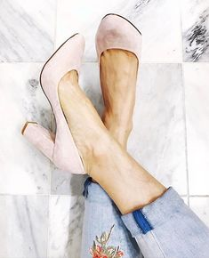 """The pink suede heel reaches new heights with a chunky silhouette. An easy way to add a feminine pop of color, these power heels kick up our Boyfriend Jeans and Manhattan Tee instantly. Pink suede chunky heels Breathable lining; memory foam footbed Approx. 3 3/4"""" heel with ¼"""" platform 100% suede/synthetic sole Imported From our Artisan series, a collection of limited edition pieces our designers crafted to stand apart from any crowd. We're loving the newness and femininity floral embroidery…"""