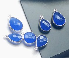 4 Pcs Blue Chalcedony Connectors Blue Faceted by gemsforjewels