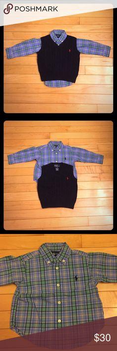 Ralph Lauren Button Down Shirt & Vest size 12 M The button down shirt and navy vest size 12 months are in excellent condition. So handsome! Polo by Ralph Lauren Shirts & Tops