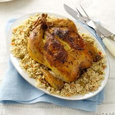 Lemon-Roasted Chicken with Olive Couscous Recipe from Taste of Home -- shared by David Feder of Buffalo Grove, Illinois  #Hanukkah