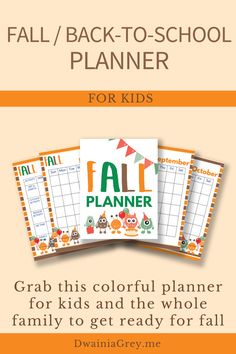Keep your family organized by planning your family's fall activities. This colorful planner for kids and the whole family to use to plan your autumn and back-to-school. Comes with 2 printable PDF versions and 12+ cover options. Included - Undated Calendar: Aug, Sept, Oct, and Nov - Weekly Planner - Daily Planner - Fall Bucket List - Fall Reading List - Monthly Activity Planner - Indoor and Outdoor Planner - Family Activity Planner - Me Time Planner - Fall Shopping List - Fall Journal Pages Kids Planner, School Planner, Weekly Planner, Autumn Activities, Craft Activities, Family Organizer, Back To School Shopping, Me Time, Journal Pages
