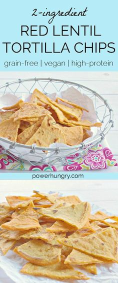 2-Ingredient, crispy crunchy tortilla chips, made from red lentils! They are naturally grain-free, gluten-free, vegan, high-protein, and high-fiber! #redlentils #lentils #2ingredients #healthychips #lentilchips #grainfree #vegan #cleaneating #cleaneats #grainfreesnack #highproteinsnack #highfiber #glutenfree