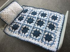Dolls bed crochet blanket and pillow, for dolls bed or pram, blue and white by AllAboutWool on Etsy