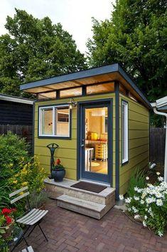 Amazing backyard studio shed she shed веранда, пермакультура. Backyard Storage Sheds, Backyard Sheds, Shed Storage, Backyard Landscaping, Modern Backyard, Landscaping Design, Storage Ideas, Tiny Backyard House, Outdoor Storage