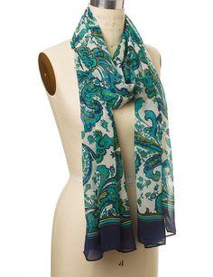 Border-Print Paisley Scarf  #GreenPaisleyScarf  #TheLimited