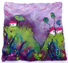 Felt Painting. Fibre Art. Felted Wall Hanging. Fibre Art. 'Hill Tops' by Lorna Soar. Pink Floral Landscape, Cottages