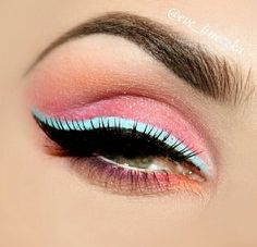 Pink eye with cotton candy blue eye liner