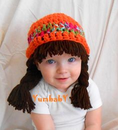 Baby Beanie Wig Beanie Pigtail Wig Orange Baby Hat by YumbabY, #baby #hat #pigtail #wig #crochet #costume #hair #brown #orange #etsy #yumbaby