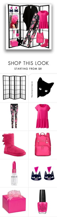 """""""It's My Party So Wear PINK"""" by kindlefraud ❤ liked on Polyvore featuring Anna Field, Dolce&Gabbana, Lands' End, UGG Australia, Tumi, Rodin, OPI, Pink, black and Dolce"""