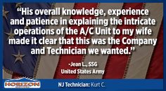 As a proud supporter of active military and veterans, Horizon Services was thrilled to receive such kind words from Jean L., United States Army.