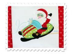 Santa's Snowmobile Applique for machine embroidery