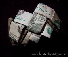 Last Minute Gift Idea - How to Fold a Money Bracelet {Turn Dollar Bills into a Work of Art} - bystephanielynn