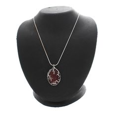 """Or Paz Sterling Carnelian Textured Pendant w/ 18"""" Chain  #OrPaz #Pendant"""