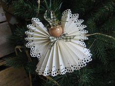 Beige Country Angel Christmas Ornament Green Gingham Plaid Trim Angel Beige Paper Ribbon Angel