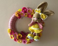 Want something unique? How about this cute crocheted bunny wreath. With handmade felt flowers. Great for girls room decor too. More at my etsy shop TapsikDesign. Felt Flower Wreaths, Easter Wreaths, Felt Flowers, Spring Flowers, Easter Crochet, Crochet Bunny, Crochet Wreath, Indoor Wreath, Spring Wedding Decorations
