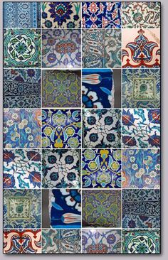 Iznik tiles a ceramic quilt! Tile Art, Mosaic Art, Mosaic Tiles, Tile Murals, Tiling, Turkish Art, Turkish Tiles, Turkish Decor, Moroccan Tiles