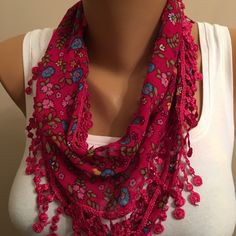 A personal favorite from my Etsy shop https://www.etsy.com/listing/188609745/floral-scarflace-scarfwomens