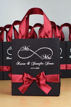 Infinity Love Wedding Welcome bags with burgundy satin ribbon handles, bow and your names, Personalized Mr & Mrs favors for guests. Destination Wedding Welcome Bag, Wedding Welcome Bags, Wedding Gifts For Guests, Wedding Favor Bags, Gift Card Bouquet, Creative Gift Wrapping, Infinity, Creations, Ideas