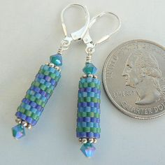 cool blues peyote tube earrings - earrings by Svengali jewels