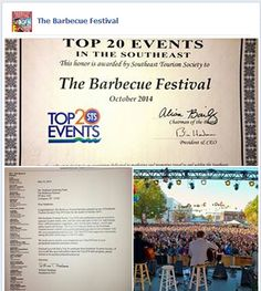 Exciting news! Southeast Tourism Society @STSTop20 selected @barbecuefest as a Top 20 Event for October 2014! #lexingtonnc #top20