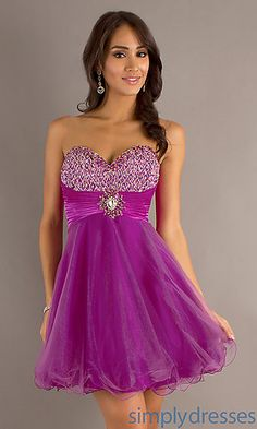Short Pink Strapless Babydoll Dress at SimplyDresses.com