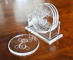 Personalized acrylic coasters on Etsy, $32.00