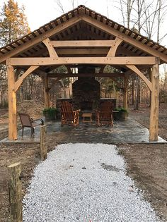 This handsome baldcypress timber frame pavilion with live edge Eastern Cedar posts can light up the night...literally!