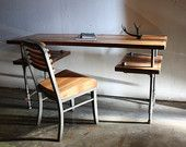 On sale industrial rustic work desk table from reclaimed wood