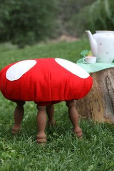 Make toadstools out of dollar store footstools!