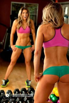 Female fitness model, so that when your done, they can ask for the workout