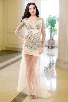 Sexy Mermaid Evening Dresses V-neck Tulle Lace Pearsl Appliques Bride Elegant Vintage Formal Women Party Prom Dress Sd03 Weddings & Events
