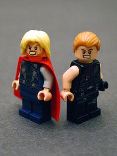 Who has the worst Lego hair? Thor Hawkeye Avengers