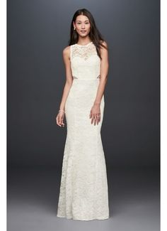 Corded Lace Trumpet Dress with Illusion Sides DB19799