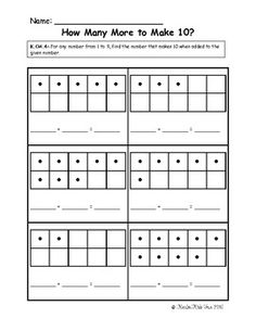 This is an assessment I use with my kindergarten students. It assesses the Kindergarten Common Core math standard K.OA.4 (For any number from 1 to ...