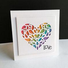 "hope your day is ""love""ly!I've deemed them love notes, with the Simon Say. Handmade Birthday Cards, Greeting Cards Handmade, Tarjetas Diy, Heartfelt Creations Cards, Valentine Love Cards, Cricut Cards, Square Card, Heart Cards, Love Notes"