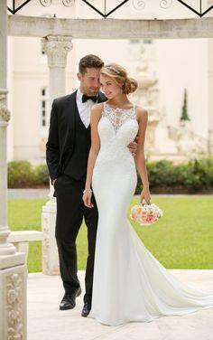 6404 High Neck Sheath Wedding Dress by Stella York #weddingdress