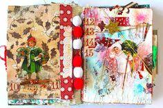 couleurs et mixed media: Art-Journal de Noël - jours 1 à 15