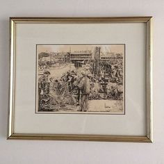 Vintage Sketch Lithograph Art Fishermans Warf San Francisco 1976 Signed Hobst  #Vintage