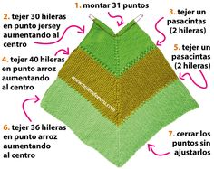 Cómo tejer un poncho en 3 tiempos en dos agujas o palitos Crochet Poncho Patterns, Knitted Poncho, Knitted Shawls, Knitting Patterns Free, Crochet Bikini, Knit Crochet, Crochet Hats, Waterfall Jacket, Knitting Needles