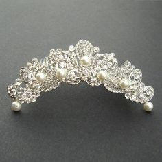Bridal Tiara, Wedding Crown, Bridal Headpiece, Vintage Wedding Tiara, Silver Tiara, MARSEILLE on Etsy, £47.67