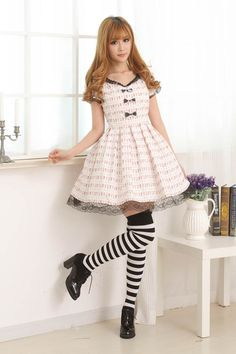Short Sleeves Knee-length Pink Lace Bow Princess Dress Sweet Lolita Dress Customize $68.00 #Lovejoynet  #Lolita