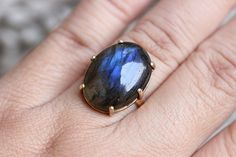 Gold Ring  Labradorite gold ring 18k gold ring   by Studio1980