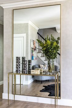 Mirror detail from Foyer by A-List Interiors decoration design Hall Mirrors, Living Room Mirrors, Home Living Room, Living Room Designs, Living Room Decor, Foyer Mirror, Dining Room With Mirror, Full Length Mirror Hallway, Large Wall Mirrors