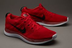 SIZE 8 Nike Flyknit One+ - Red/Black/Platinum